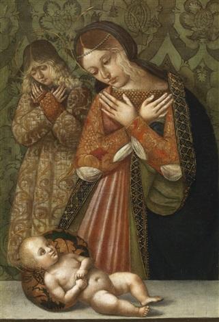 maria und ein engel in anbetung des kindes by bernardino di bosio zaganelli