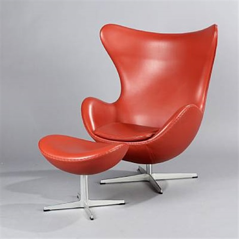 the egg chair with stool model 3316 and 3127 set of 2 by arne jacobsen