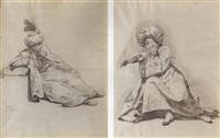 l'eunuque noir: un jeune turc assis appuyé sur une pierre, tourné vers la droit by guillaume voiriot
