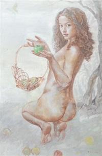 weiblicher rückenakt mit apfel und korb by xu huazhou