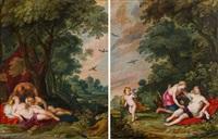 pendants - diana und nymphe schlafend, von satyr belauscht & diana entdeckt die schwangerschaft der kallisto (pair) by frans wouters