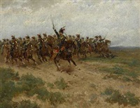 englische husaren im angriff by hermanus willem koekkoek