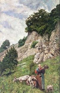paisaje rocoso con anciana y niño by augusto junquera