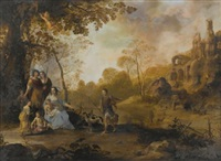 an allegorical family portrait in a landscape by dirck van der lisse