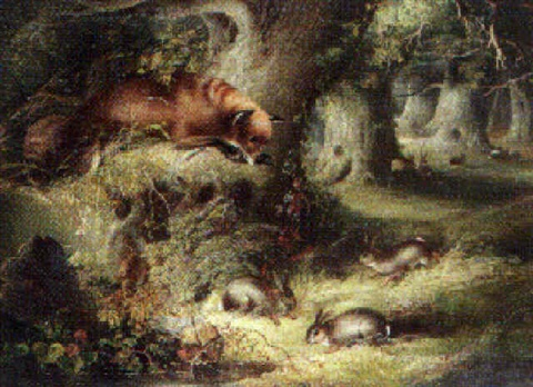 fox with hares by george arundel