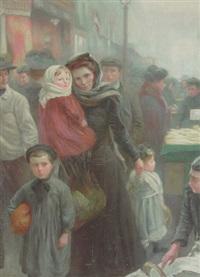 den unge mor handler på torvet sammen med sine tre småborn by juan (jean) sala gabriel