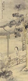 秋廊待月图 by wang su
