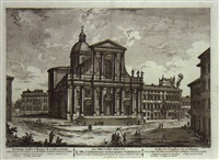 veduta della basilica e piazza di s. pietro in vaticano (+ 4 others, lrgr; 5 works) by jean barbault