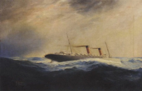 the cunard liner lucania making headway in a heavy atlantic swell by thomas dove