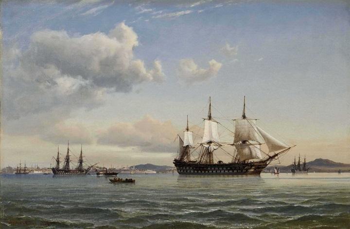 segelschiffe vor konstantinopel by daniel hermann anton melbye
