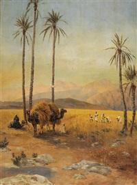 arrêt sous les palmiers dans le sahara algérien by fortunio