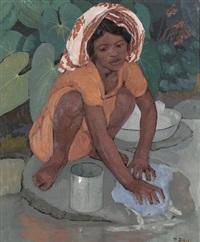 madagassin beim kleiderwaschen am fluss by paul-léon bleger