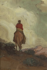 indian on horseback by carl oscar borg
