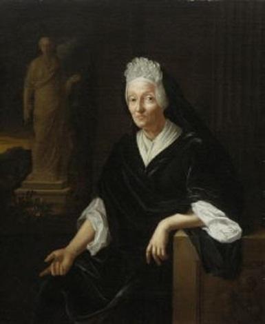 bildnis einer alten dame einer begine kniestück an einem fenster mit landschaftsausblick sitzend by pieter van der werff