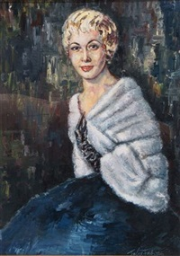 portrait of a young lady wearing fur stole by felix fabian