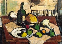 still life with fruit and wine on a table by wim blom