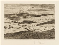 landschaft mit wolkenschatten / gasterntal ii / seifriedsberg (3 works, various sizes) by hans thoma