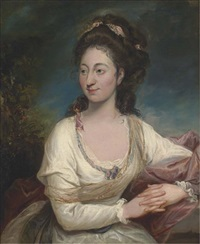 portrait of a lady, three-quarter-length, in a white dress by rev. matthew william peters