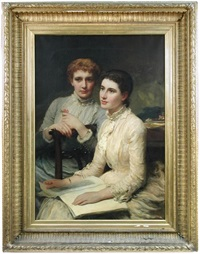 portrait of miss polly rodgett (1862-1946) and miss maud burton, the filleul cousins by james sant