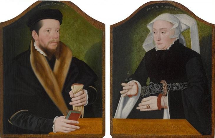 bildnisse eines bürgerlichen ehepaares pair by bartholomäus barthel bruyn the younger
