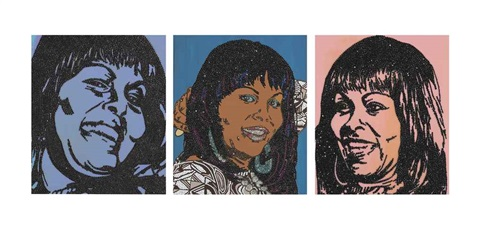 a e i o u and sometimes y triptych by mickalene thomas