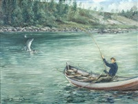 salmon fishing from a small boat, norway by william ellis barrington-browne