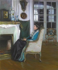 woman seated by a fireplace (a pensive moment) by susan watkins