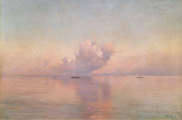 ruhiges meer bei sonnenuntergang by nikolai nikanorovich dubovskoy