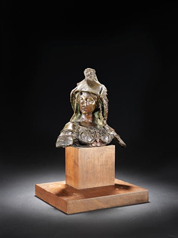 classical figure in armoured attire with reclining owl to the helmet by gilbert
