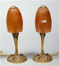 petites lampes à poser de style art nouveau (pair) by georges leleu