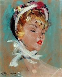 portret van een elegante jonge vrouw by jean-gabriel domergue