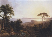 a view of the bay of baia near naples, with the town of pozzouli on the coast by wilhelm jakob huber
