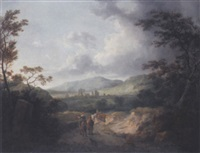 extensive landscape with rustics on a path by george arnald