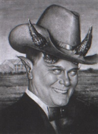 porträt larry hagmann als j.r. ewing in dallas by walter andreas angerer
