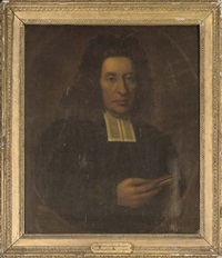 portrait of rev. william smyth of moneydie, m.a., in clerical robes holding a book in his right hand (+ another; 2 works) by richard waitt