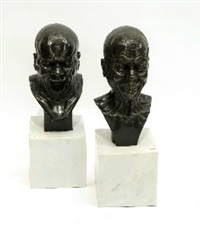 deux têtes de caractère (2 works) by franz xaver messerschmidt