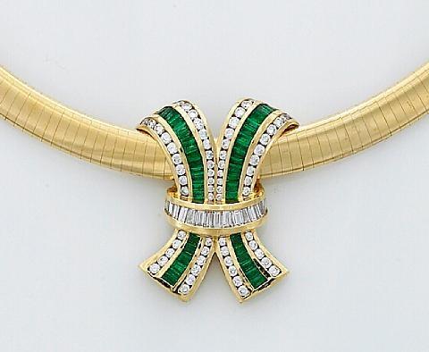 A bow motif slide pendant together womega necklace by charles a bow motif slide pendant together womega necklace by charles krypell aloadofball Images