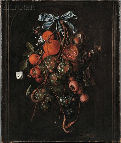 autumn still life with pomegranates, chestnuts, oranges, white and red grapes, plums, wheat, and insects by cornelis de heem