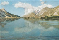 untitled - mountain lake by etienne rivier-soutter
