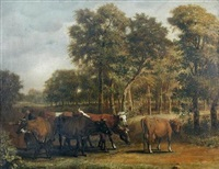 wooded landscape with a peasant driving cattle by jan victors