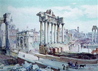 the forum, rome with the arch of septimus severus and the temple of saturn by françois martin