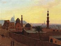 blick über das abendliche kairo mit moscheekuppeln und minaretten by m. christensen