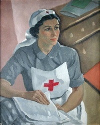 portrait of miss joan harper, a nurse in uniform by cecil leslie
