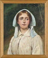 portrait of a young girl, bust length, standing in a wood by charles sillem lidderdale