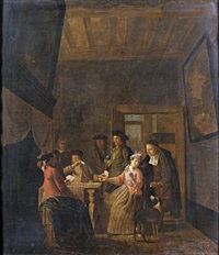 interior with an elegant company playing cards by maximilian blommaerdt