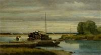 bateau sur la thièle by auguste bachelin