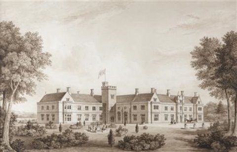 view of a country house by lewis vulliamy