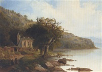 monks conversing on before an abbey on the edge of a lake by friedrich philip reinhold