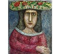 woman with a flower hat by alpo jaakola