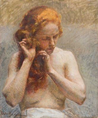 weiblicher halbakt das haar flechtend by vlacho bukovac